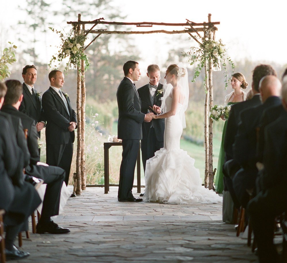 exchanging vows on the veranda