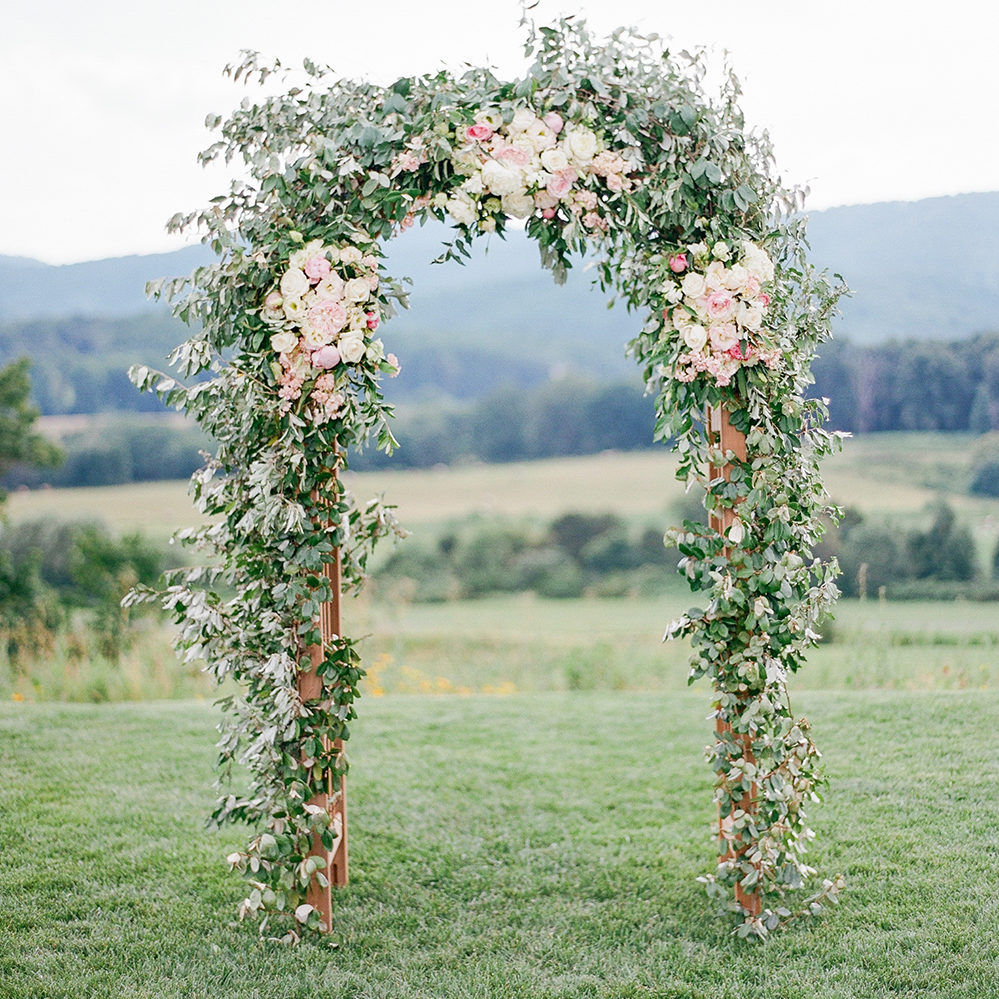flower arch at pippin hill wedding ceremony